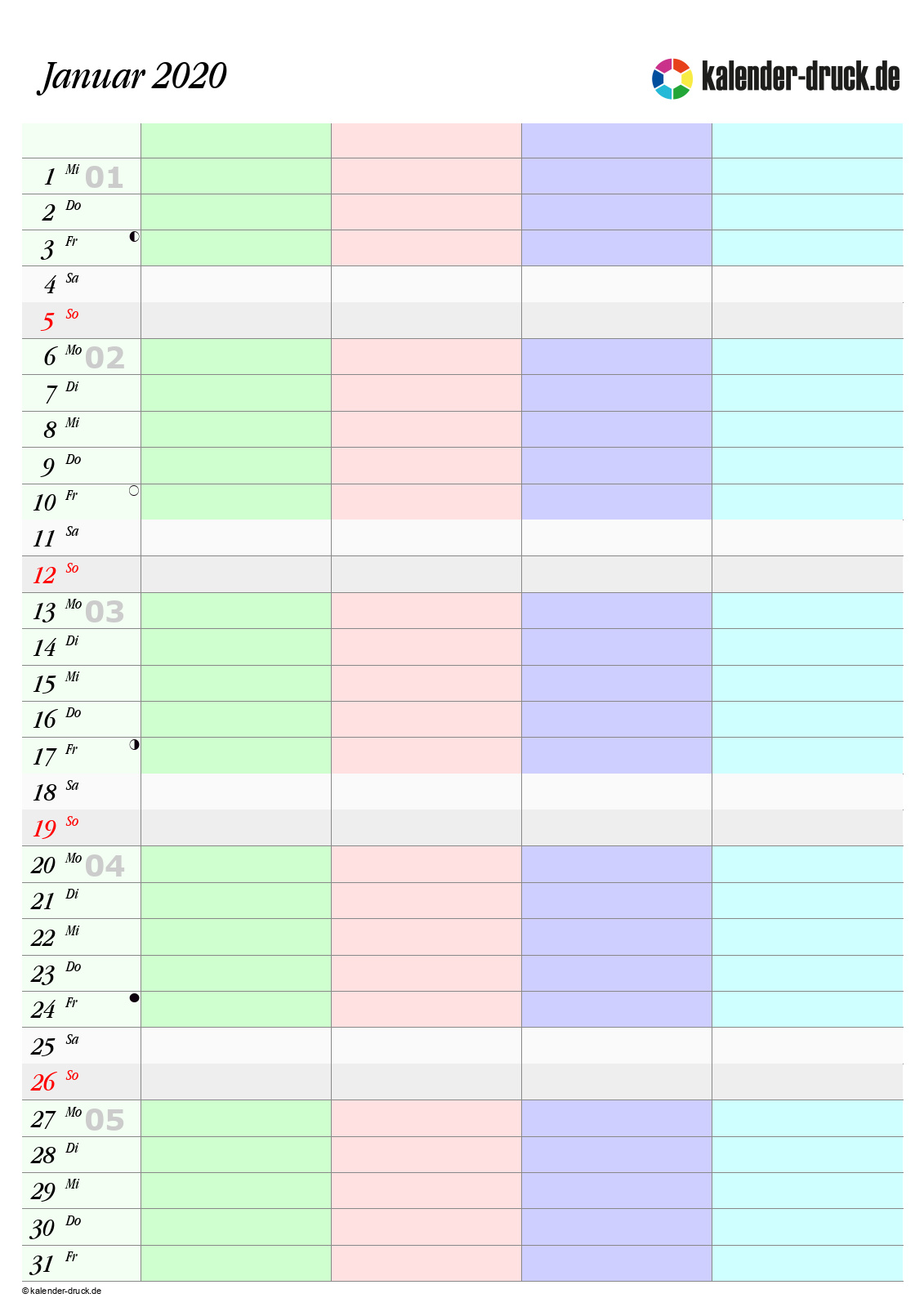 Kostenlos Familienkalender 2020 Zum Selbst Ausdrucken
